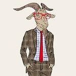 козел в очках и костюме