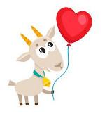 коза с шариком в форме сердца