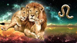 лев с львицей и львенком