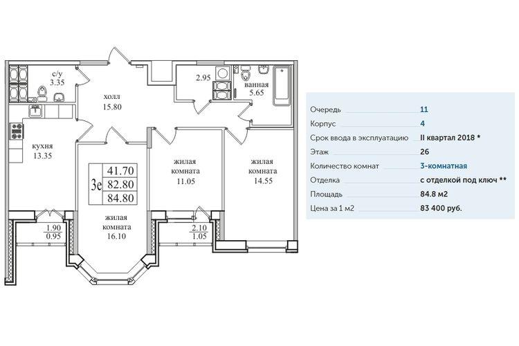 Планировка квартир в ЖК «Северная Долина» г. Санкт-Петербург