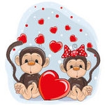 обезьянки с сердцами