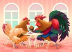 петух с курицей за столом