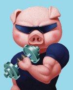 свинья с гантелей