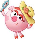 нюша - свинья с зеркальцем и в шляпке