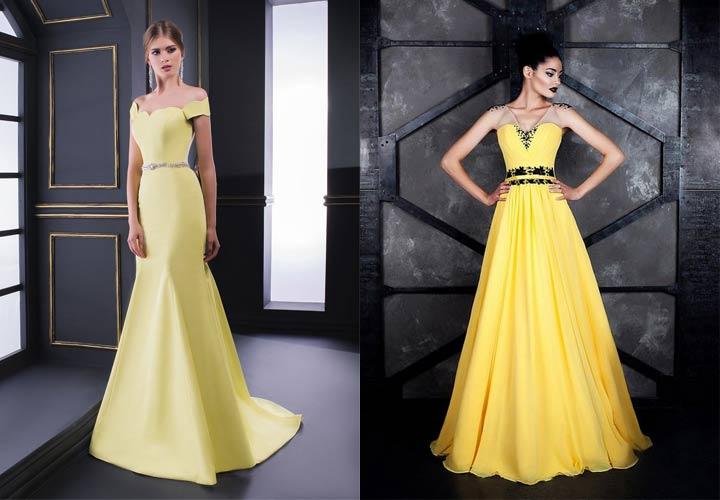 Желтое новогоднее платье на 2019 год