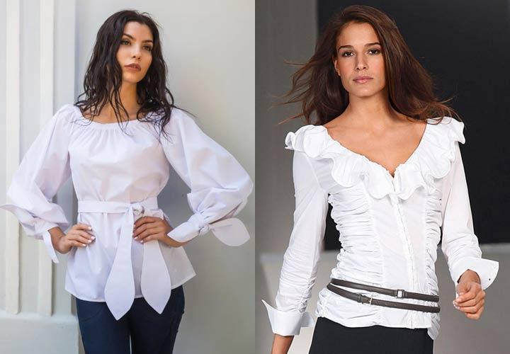 Белая блузка и праздничный лук