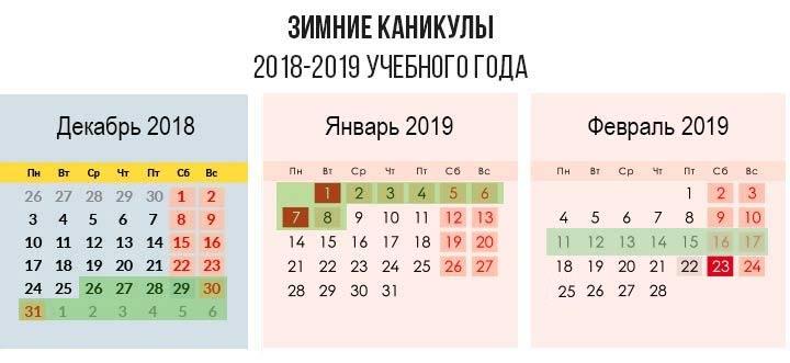 Школьные каникулы зимой 2019 года