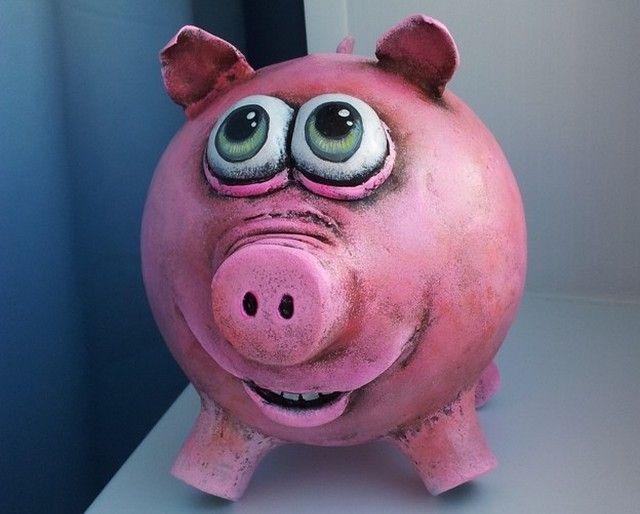 Свинка-копилка из папье-маше