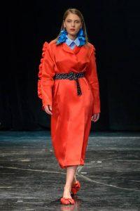 Diana Kvariani красное пальто 2018 года