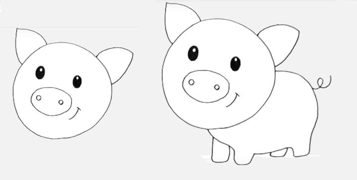Рисунок свинки для детей