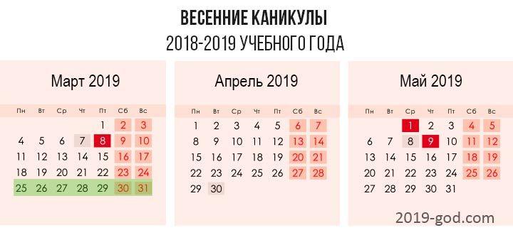 Весенние каникулы в 2018-2019 году