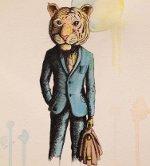 тигр в костюме и с портфелем