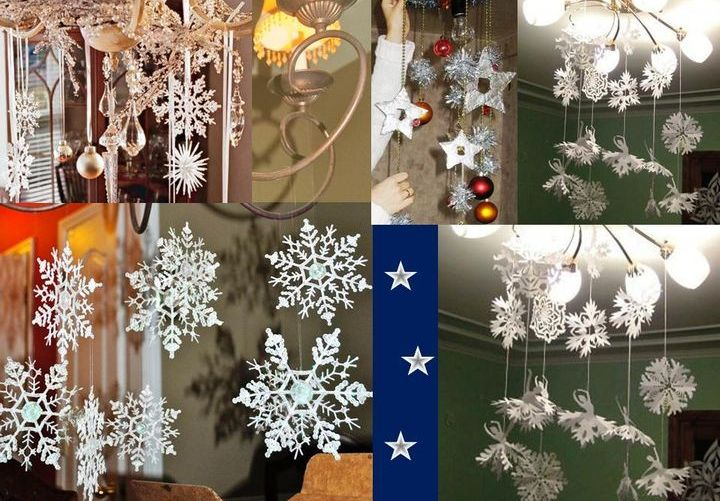 Бумажные снежинки на люстре
