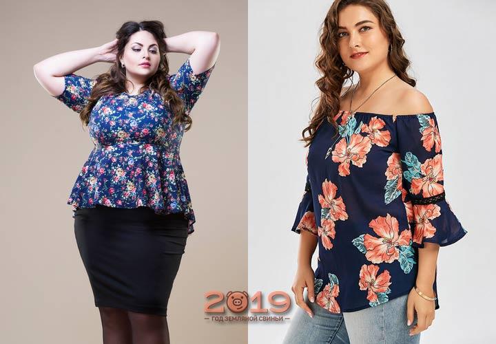 Яркий принт мода для полных 2018-2019