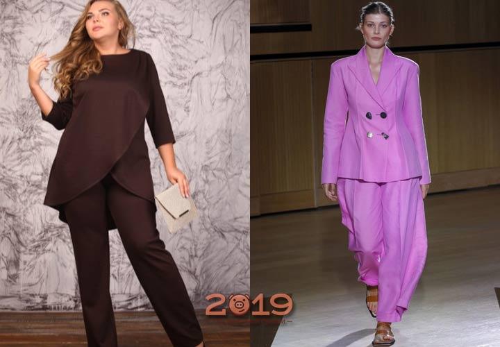 Яркий брючный костюм для полных 2018-2019