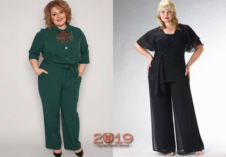 Стильный брючный костюм большого размера 2018-2019