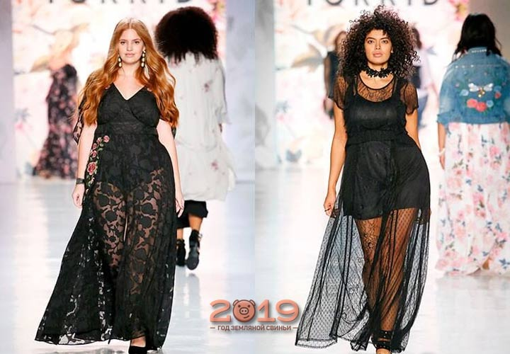Прозрачное платье для полных 2018-2019