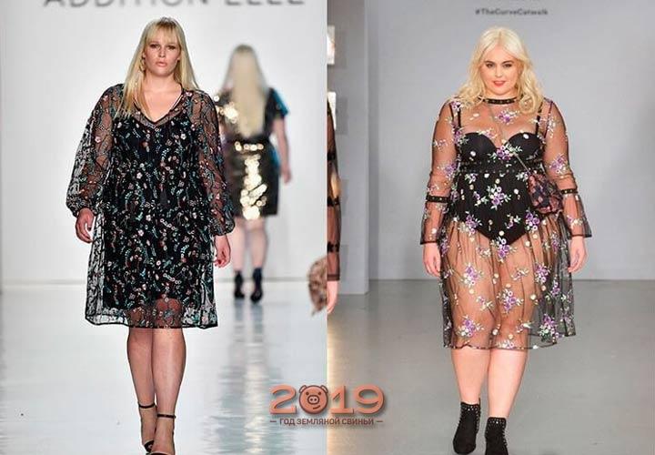 Прозрачное платье для пышных девушек 2018-2019