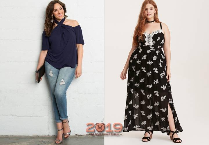 Открытые плечи мода для полных 2019