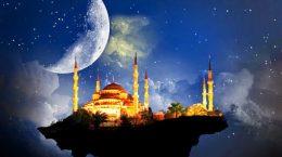 арабский город на фоне неба и луны