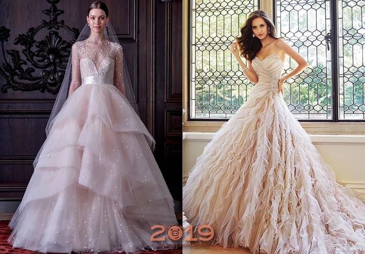 Свадебное платье с рюшами 2018-2019