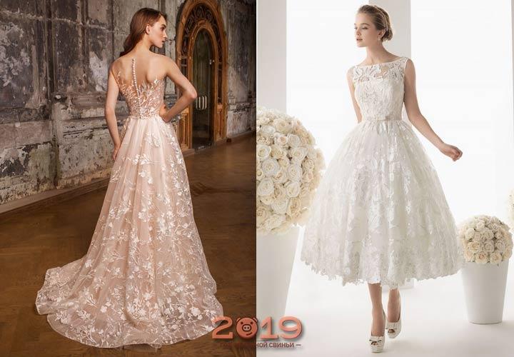 Стильное платье невесты из кружев 2018-2019