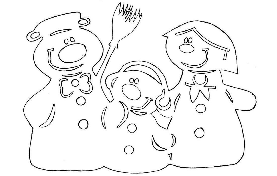 Вытынанки снеговики