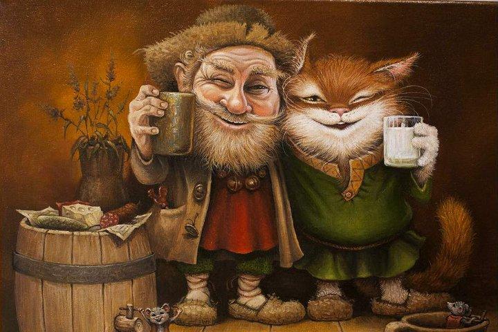 рисунок домовой с котом