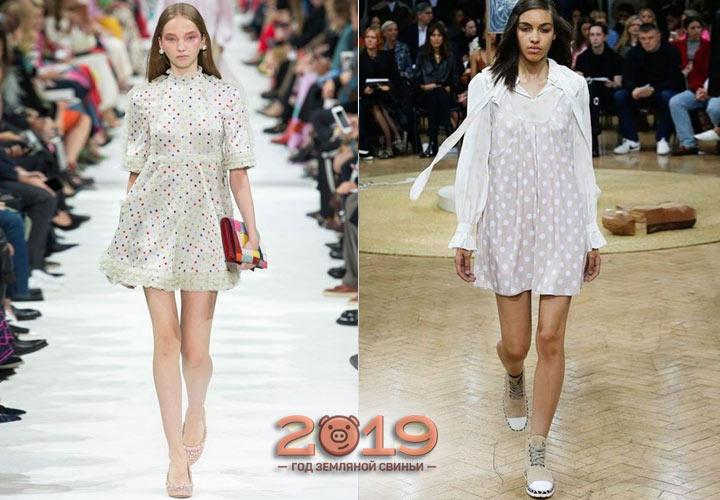 Модный принт в горошек платья 2018