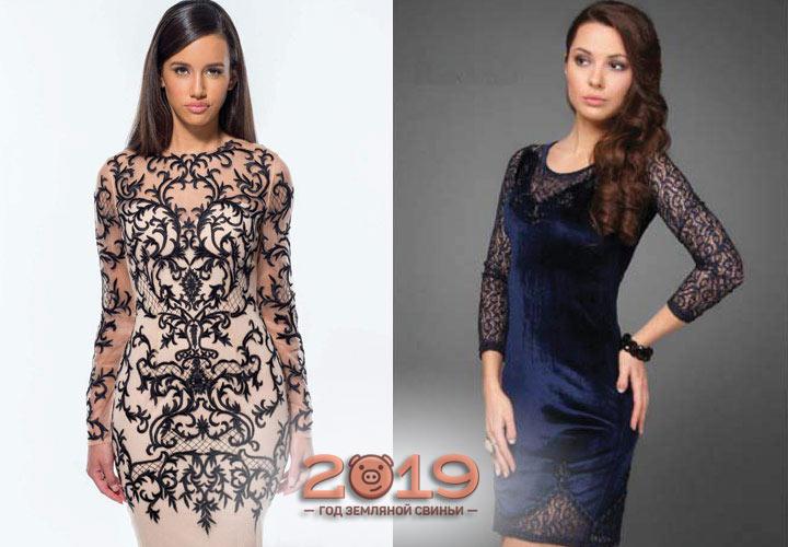 Коктейльное платье с рукавом 2018-2019
