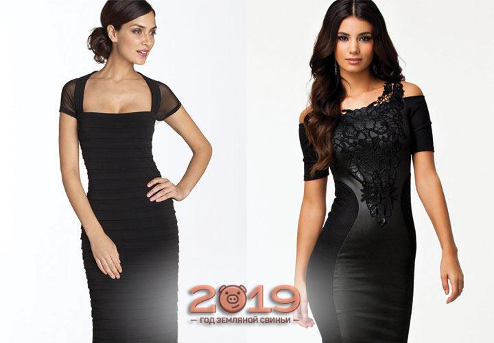 Черное коктейльное платье 2018-2019