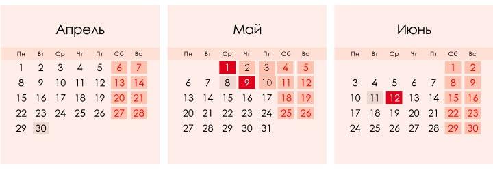 Майские праздники в 2019 году календарь