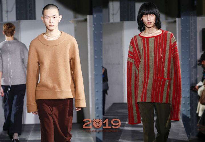Мужской свитер 2019 с рукавами макси