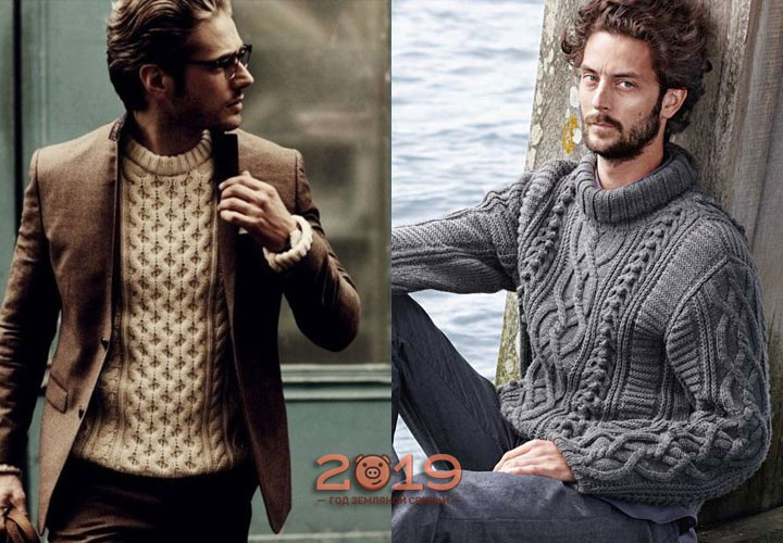 Красивый мужской свитер косами