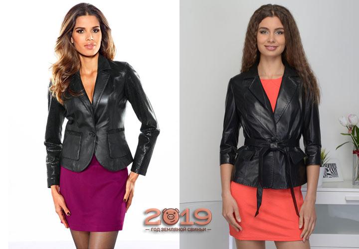 Кожаный пиджак 2018-2019 года