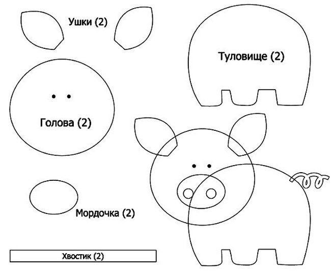 Свинка-брелок из фетра