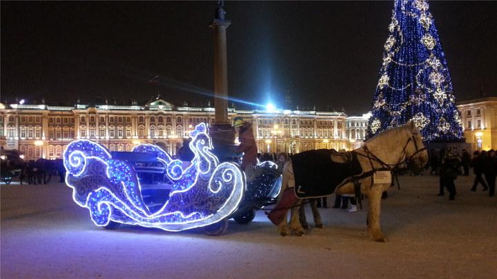 новогодние сани на дворцовой площади