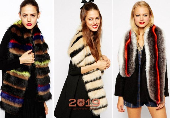 яркие модели меховых шарфов