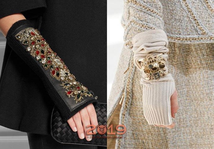 Экстравагантные модели перчаток с инкрустацией