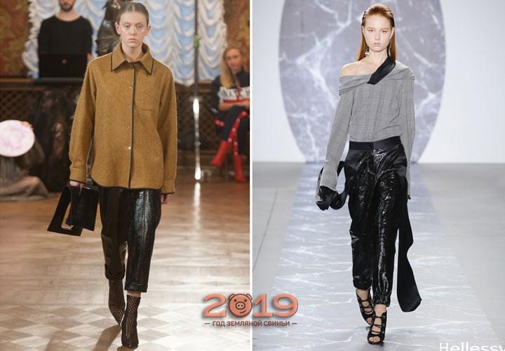 Кожаные брюки осень-зима 2018-2019