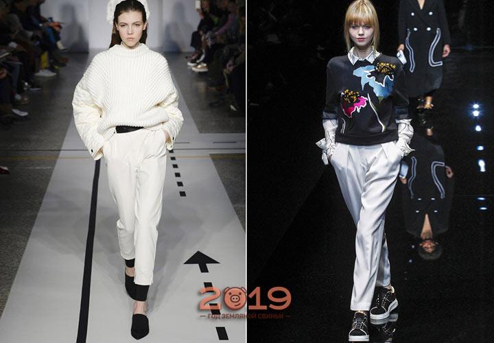 Женские белые брюки на осень и зиму 2018-2019 года