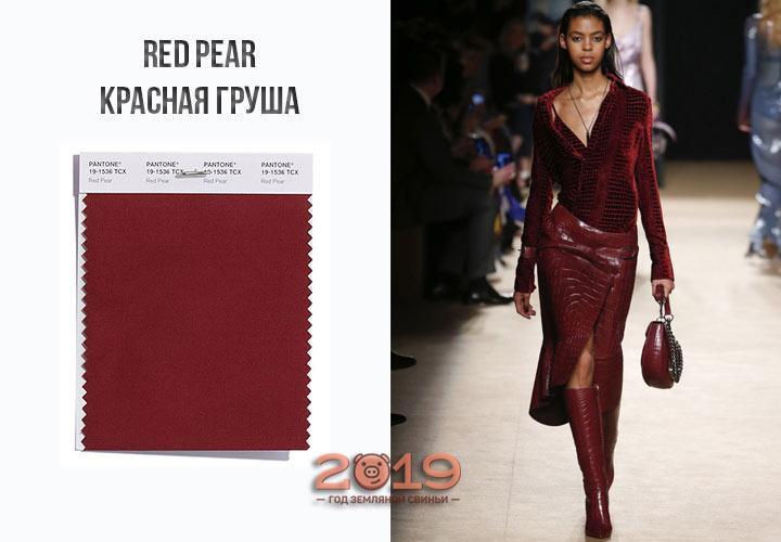 Красная груша от Пантон зима 2018-2019