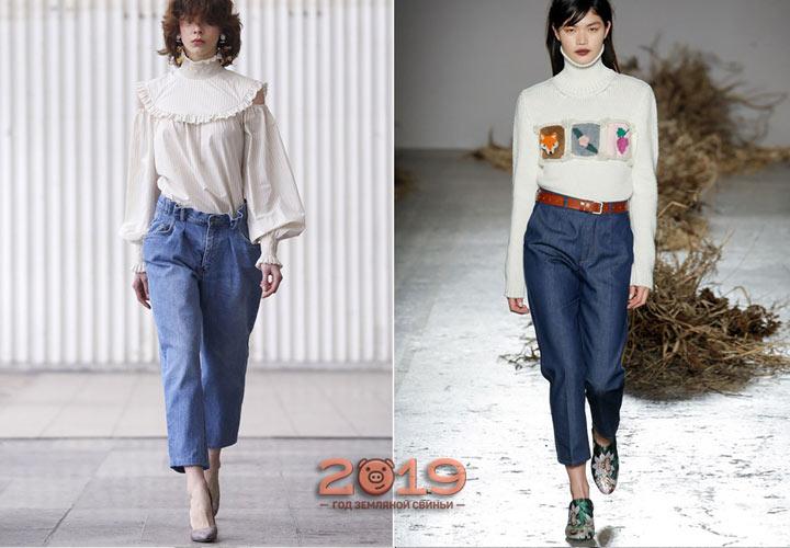 Укороченные джинсы зима 2018-2019