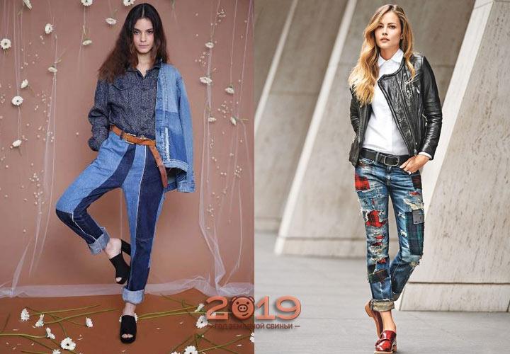 Комбинированные джинсы сезона осень-зима 2018-2019