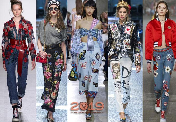 7431562efad Джинсы с вышивкой мода сезона осень-зима 2018-2019 года