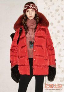 Красная куртка зима 2018-2019