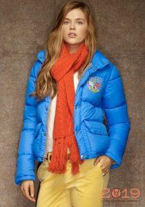 Голубая куртка зима 2018-2019