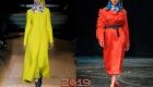 Модные цветные пальто осень-зима 2018-2019 года