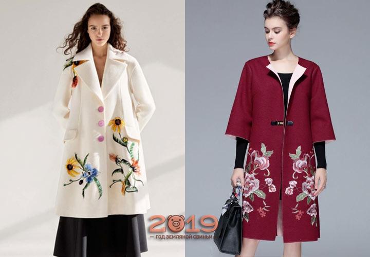 Пальто с ышивкой осень-зима 2018-2019