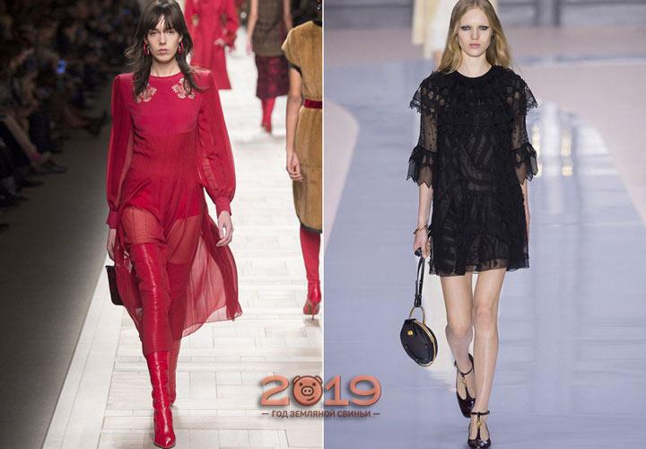 Модное прозрачное платье зима 2018-2019